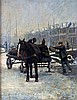 Hendrikus Gerardus de Korte (1930-) A horse cart in a wintery tow, Hennie de Korte, Click for value