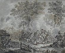 Dirk Langendijk (1748-1805) A battle with cavalry. Signed lower r