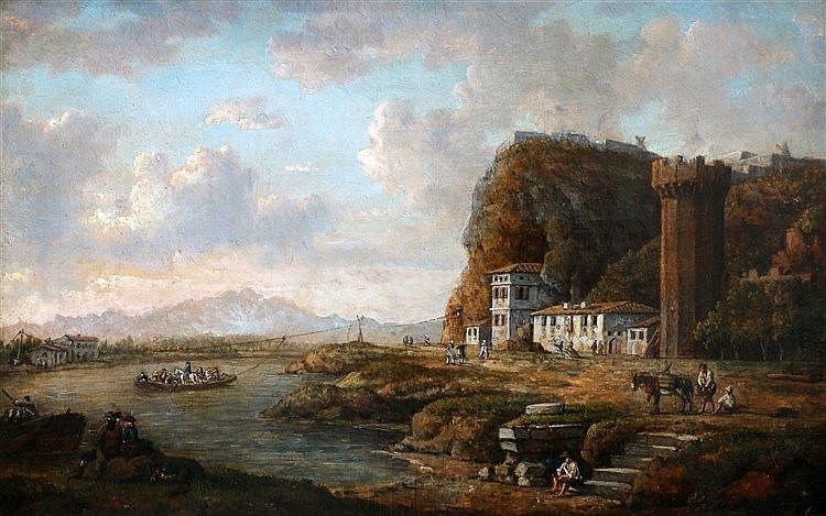 William Marlow (1740-1813) A river landscape with a ferry and sev