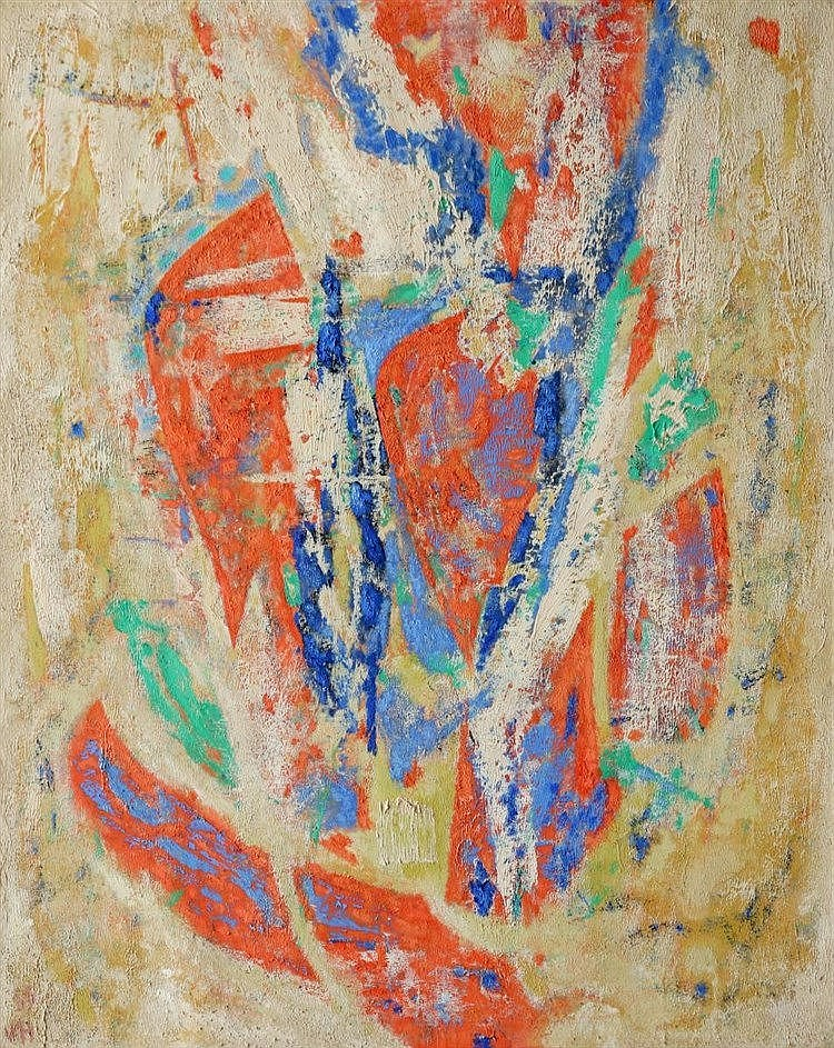 Wout van Heusden (1896-1982) Composition in colour. Signed with i