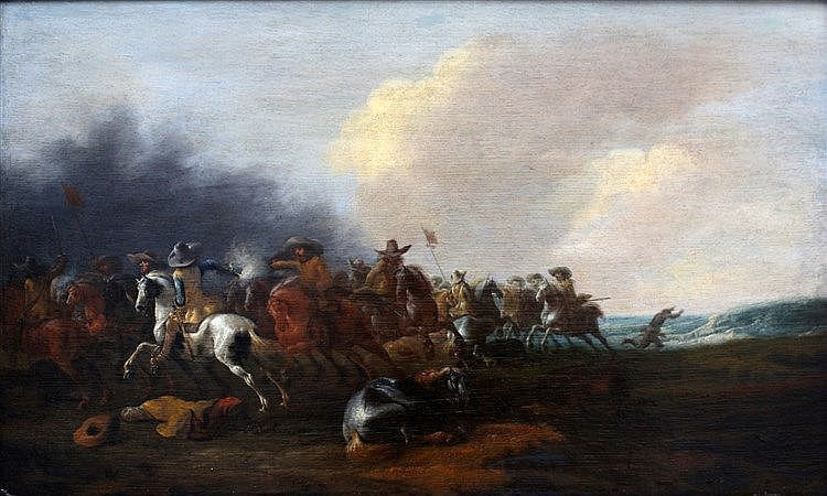 Jan Jacobsz. van der Stoffe (1627-1690) Battle with cavalry. Sign