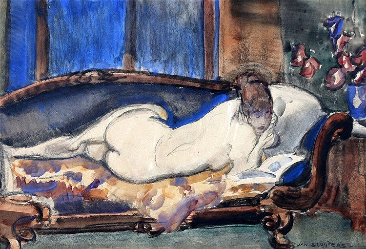 Jan Sluijters (1881-1957) Reclining nude on a sofa with an open b