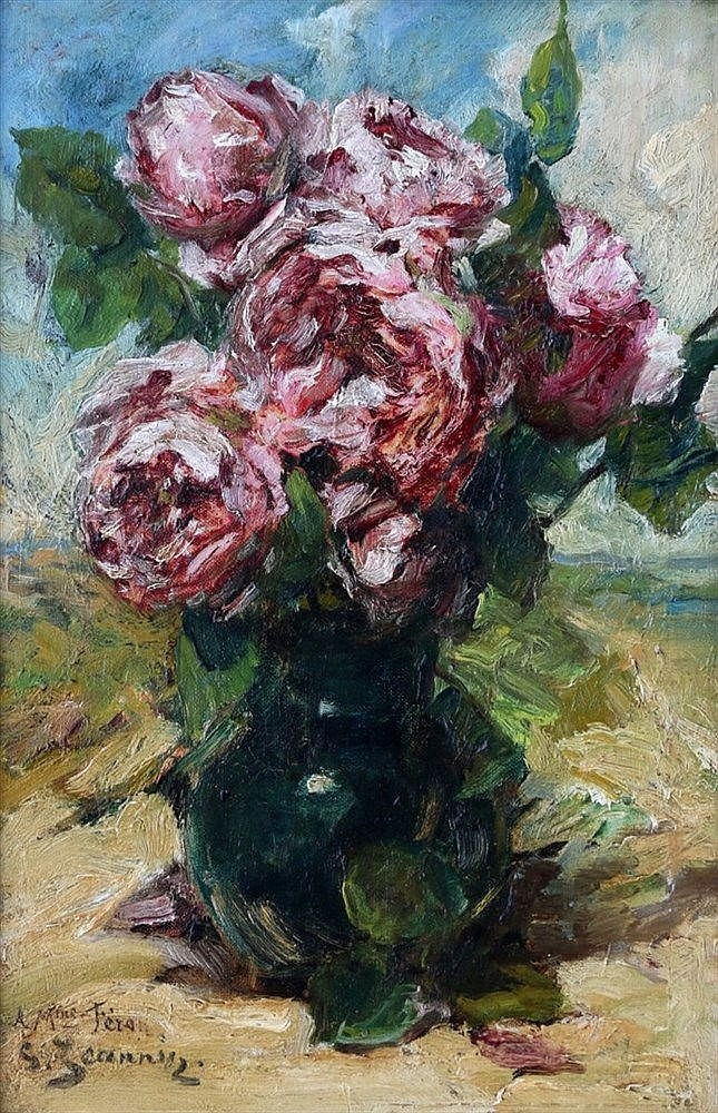 Georges Jeannin (1841-1925) Still life with roses in a vase. Sign