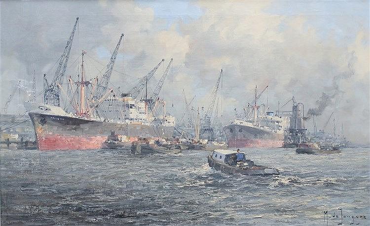 Marinus de Jongere (1912-1977) 'Merwehaven'. Signed lower right.