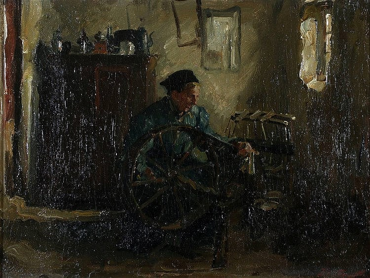 Eduard Frankfort (1864-1920) At the spinning wheel. Signed lower