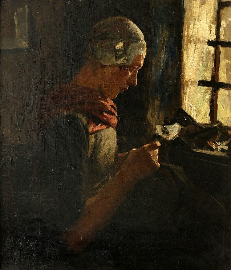 Willy Martens (1856-1927) Portrait of a knitting woman. Unsigned.