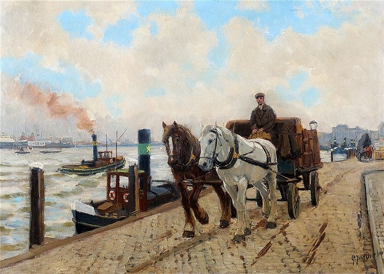 Gijsbertus Johannes van Overbeek (1882-1947) A dray-cart on a doc