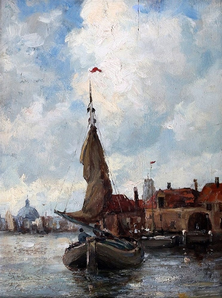 Hobbe Smith (1862-1942) View of Rotterdam with a vessel. Signed l