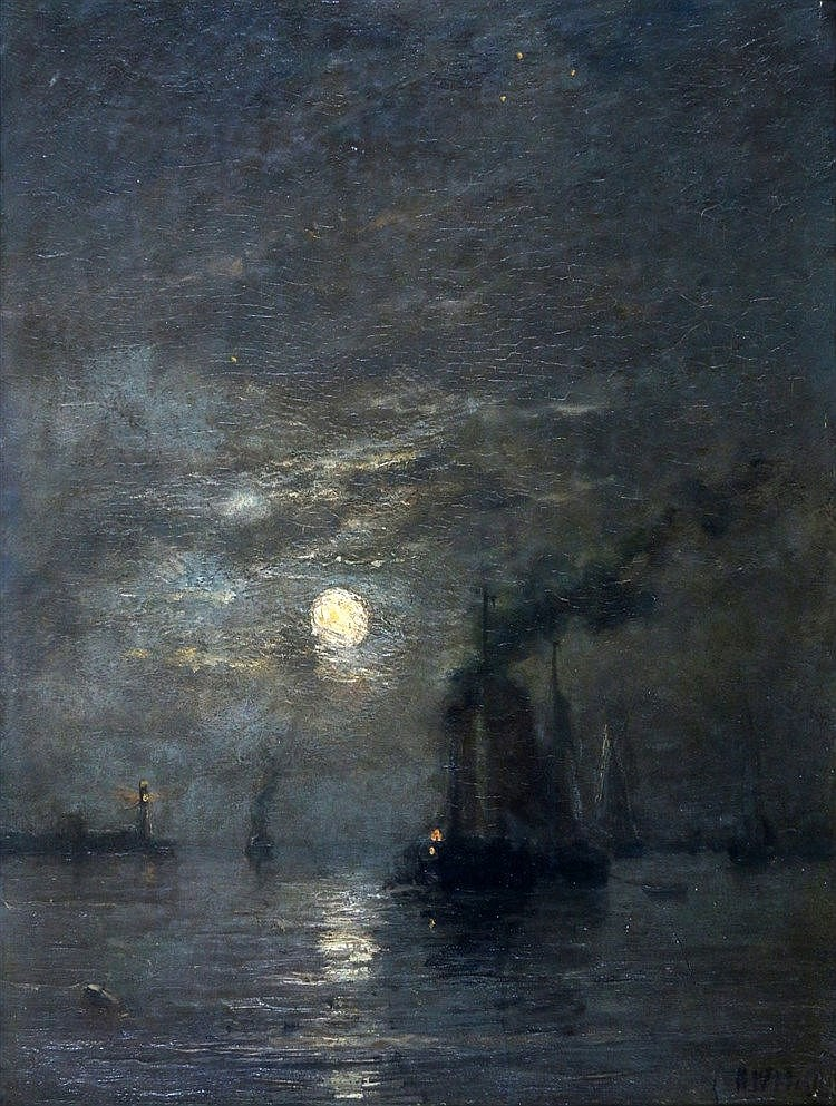 Hendrik Willem Mesdag (1831-1915) Fishing vessels entering a moon