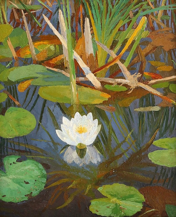 Dirk Smorenberg (1883-1960) Water lilies. Signed lower left. In t