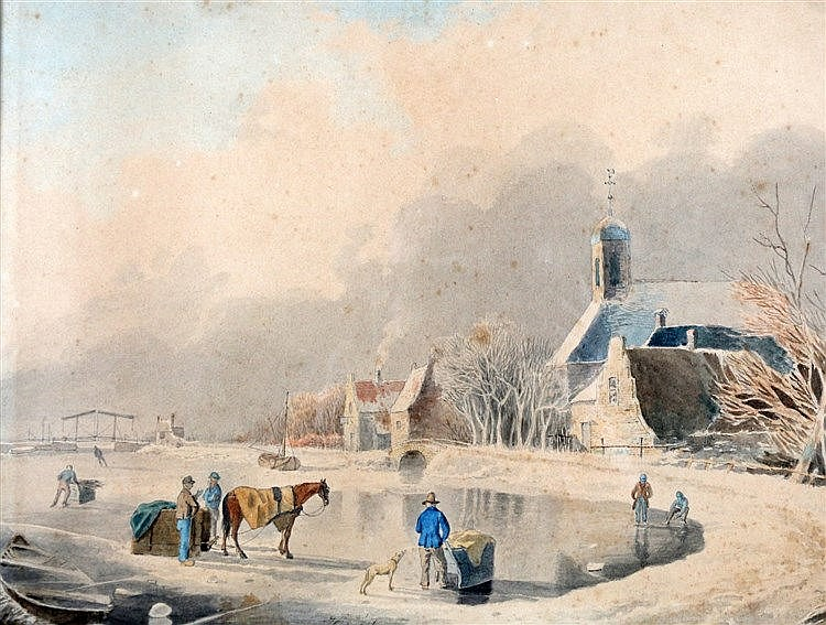 Hendrik Manfield Haus (1803-1843) Figures on the ice with a horse