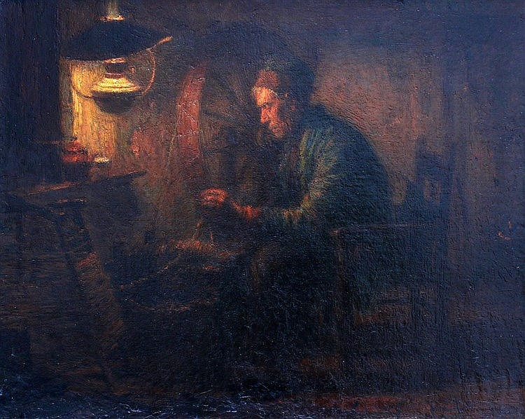 Willem van Nieuwenhoven (1879-1973) Interior with man at a spinni