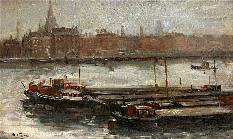 Hans Timmer (1912-1997) View of the Boompjeskade in Rotterdam wit