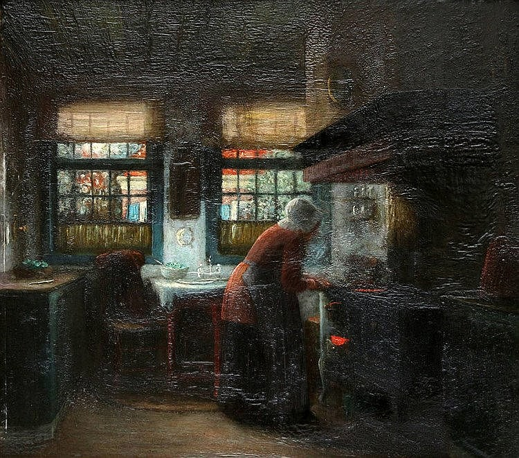 Gerke Henkes (1844-1927) Kitchen interior with a woman by a stove