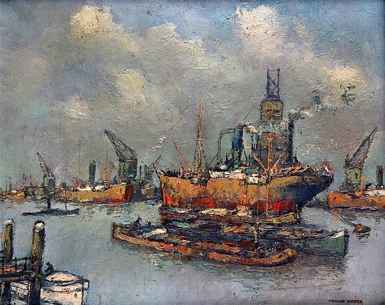 Antonie Lodewijk Koster (1859-1937) View on the harbour of Rotter