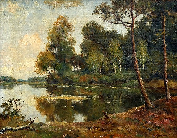Gerard Altmann (1877-1940) Trees by a lake. Signed lower right.