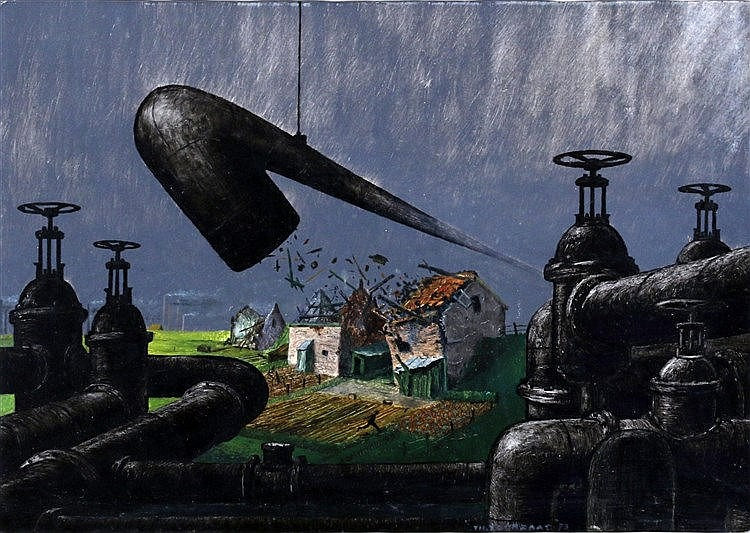 Theo Voorzaat (1938-) Houses being destroyed by advancing industr