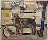 A tapestry. 'Perra'. A fox terrier posing in front of the Meuse