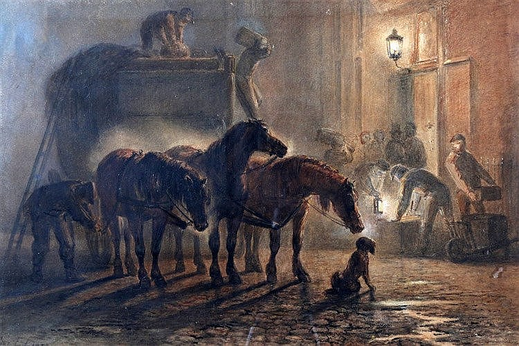 Ferdinand Ernst Lintz (1833-1909) Unloading the horse cart by nig