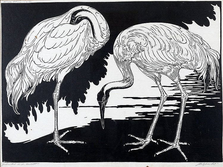 Jan Schonk (1889-1976) 'White cranes'. Signed lower right. Printe