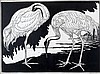 Jan Schonk (1889-1976) 'White cranes'. Signed lower right. Printe, Johannes Theodorus Schonk, €0