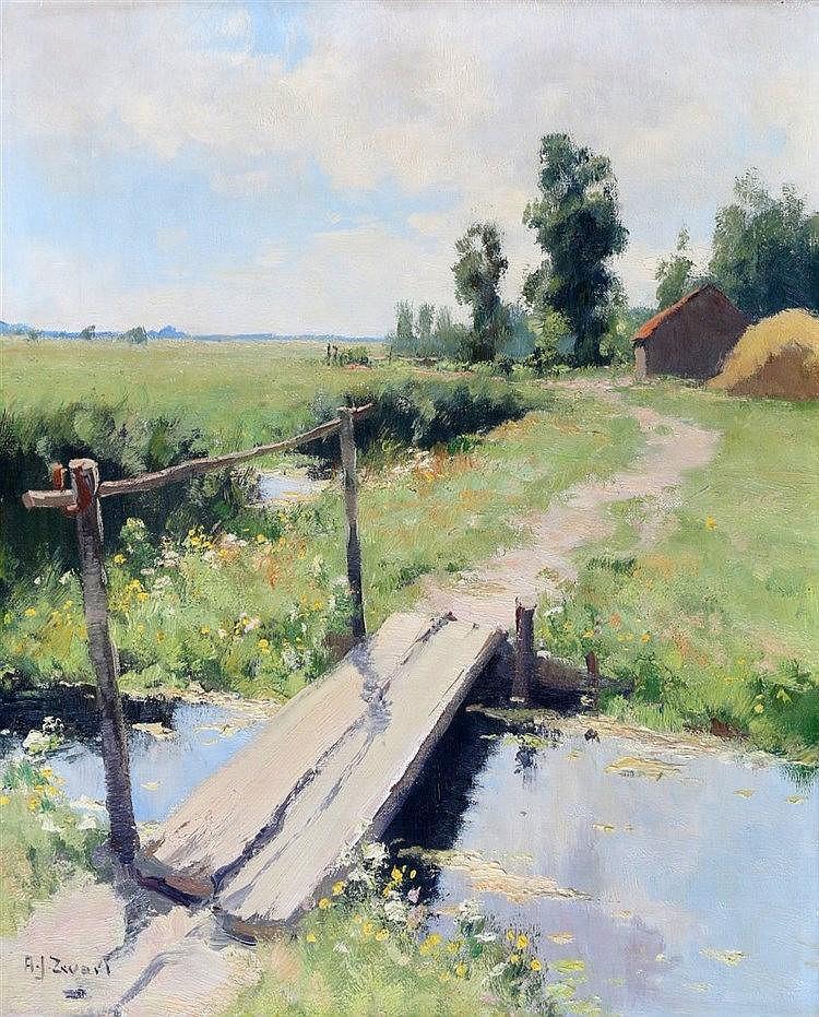Arie Zwart (1903-1981) 'In de polder bij Gouda'. Signed lower lef