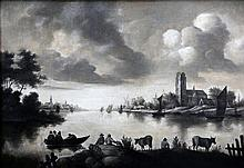 Hollandse School 17e eeuw View on the Meuse near Dordrecht. Inclu