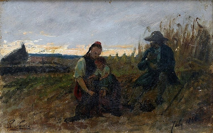Philip Sadée (1837-1904) 'Moment of peace'.Signed lower left and