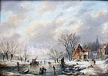 Jan Gerard Smits (1823-1910) A town in winter with figures on the