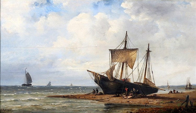 Nicolaas Martinus Wijdoogen (1824-1899) A fishing boat on the bea