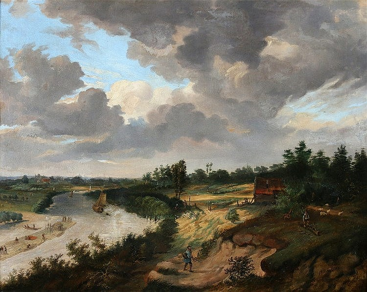 Hollandse School 19e eeuw A river landscape. Signed Braak and dat