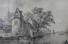 Omgeving Aert Schouman (1710-1792) A small castle by a stream. In