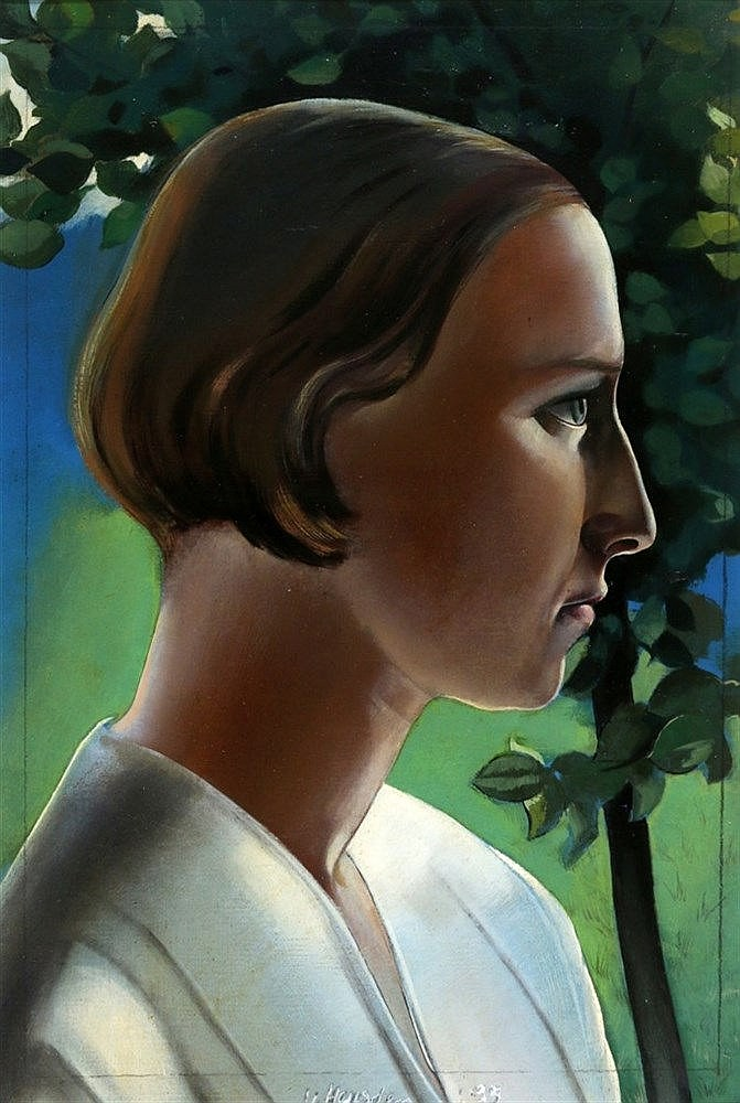 Wout van Heusden (1896-1982) Profile of a girl. Signed and dated