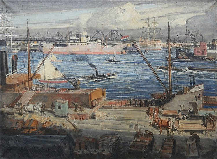 Marius Richters (1878-1955) The Rotterdam harbour. Signed with th