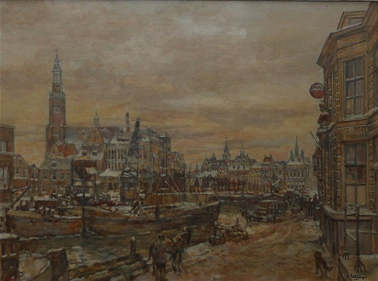 Borgert Carolus van Ettinger (1916-1991) View on the harbour of M
