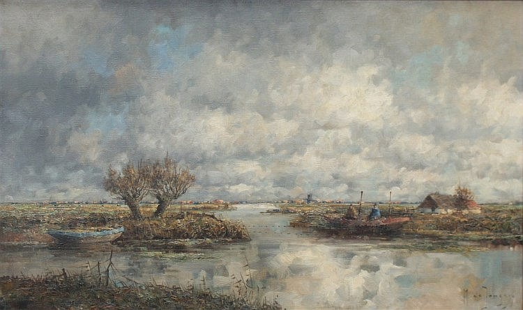 Marinus de Jongere (1912-1977) Polder landscape. Signed lower rig