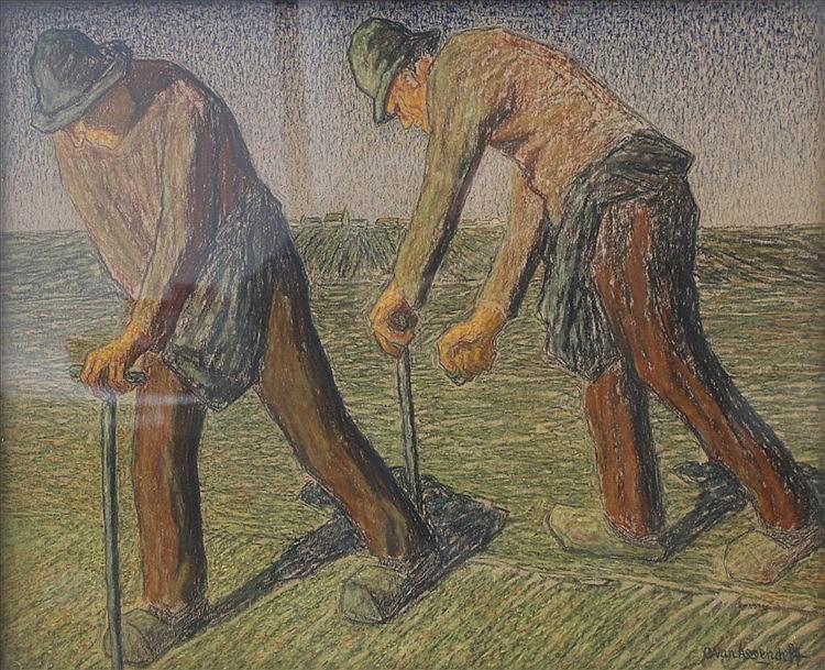 Cornelis Albert van Assendelft (1870-1945) Peat cutters. Signed l