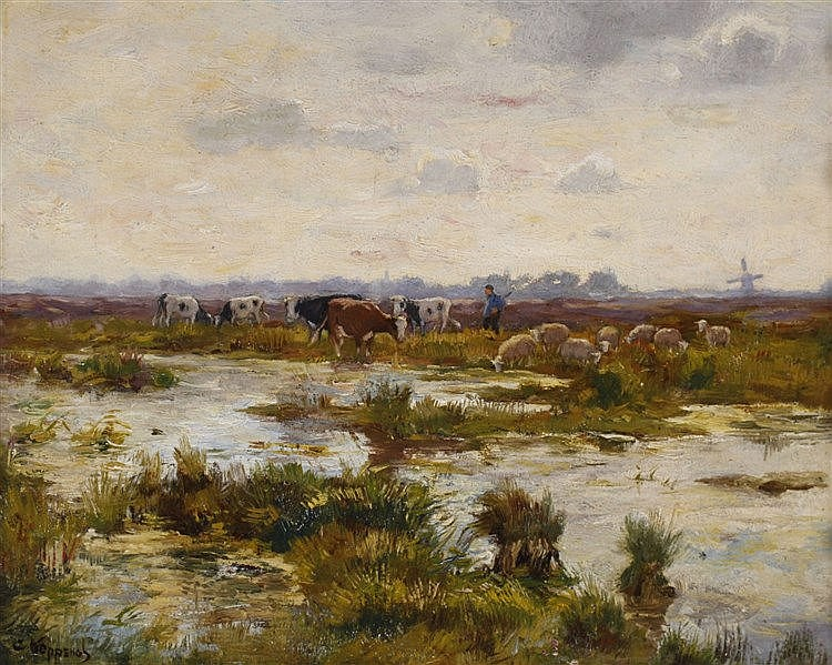 Cornelis Koppenol (1865-1946) Farmer with cattle in a landscape.