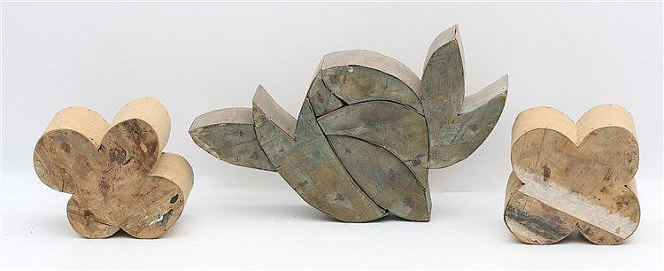 Kees Franse (1924-1982) Three wooden sculptures. Flowers. One sig