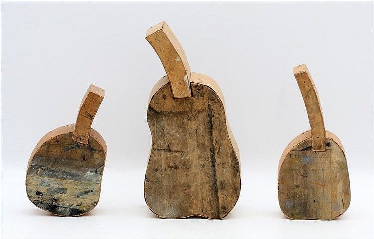 Kees Franse (1924-1982) Three wooden sculptures. Pears. Signed. H