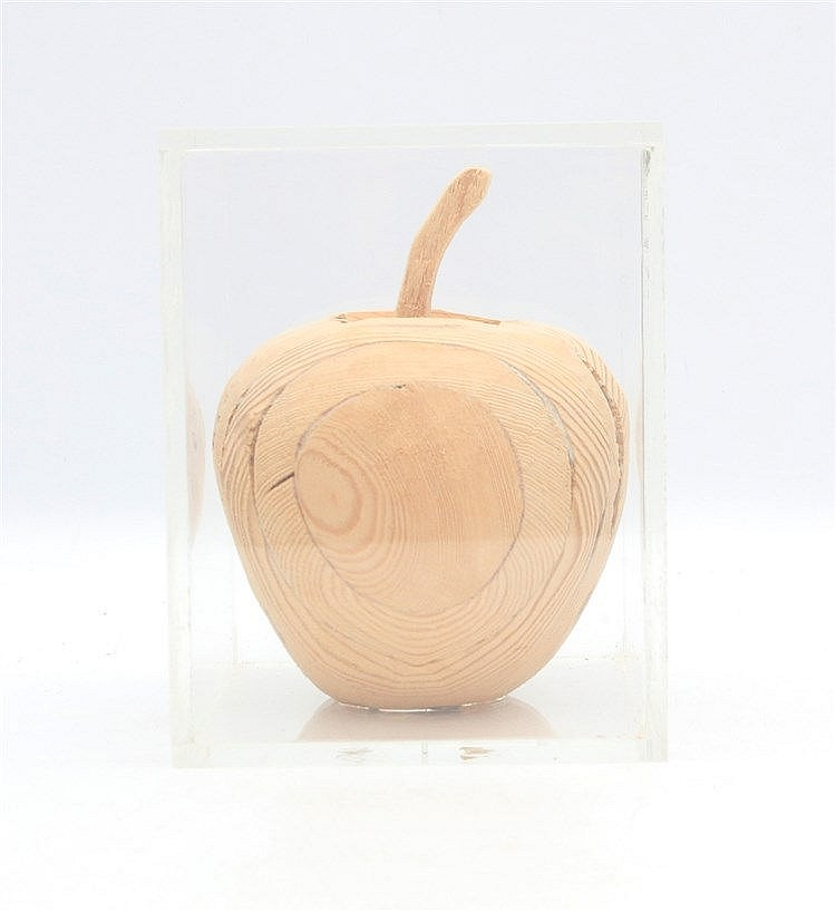 Kees Franse (1924-1982) A wooden sculpture. An apple. Signed with