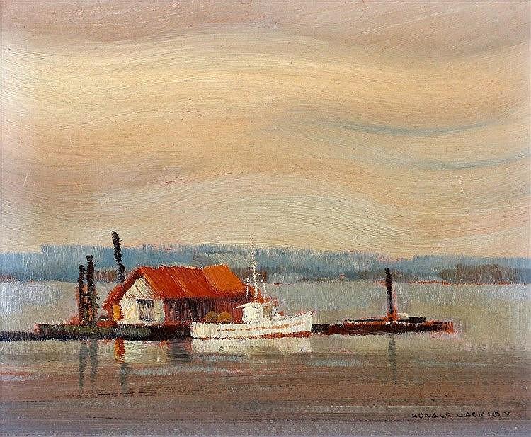 Ronald Threlkeld Jackson (1902-1992) A house on a lake. Signed lo