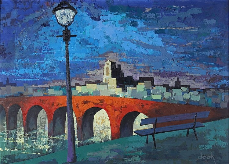 Dook Everse (1910-2005) Bridge across a river by night. Signed lo