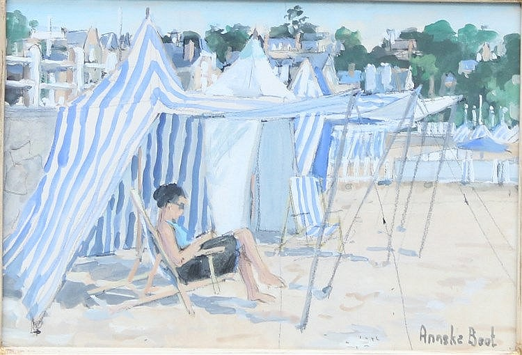 Anneke Boot (1945-) A woman on the beach. Signed lower right. Gou