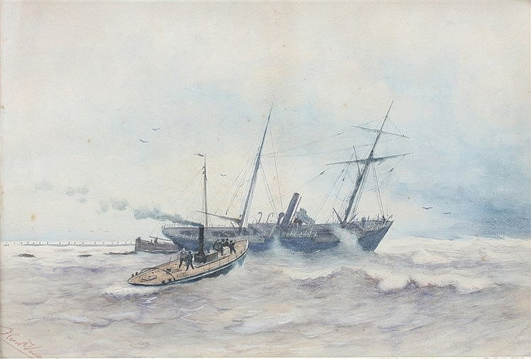 Hendrik Veder (1841-1894) A shipwreck near a pier. Signed lower l