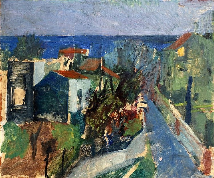 Henk de Vos (1911-1982) Village by the coast. Signed lower left.