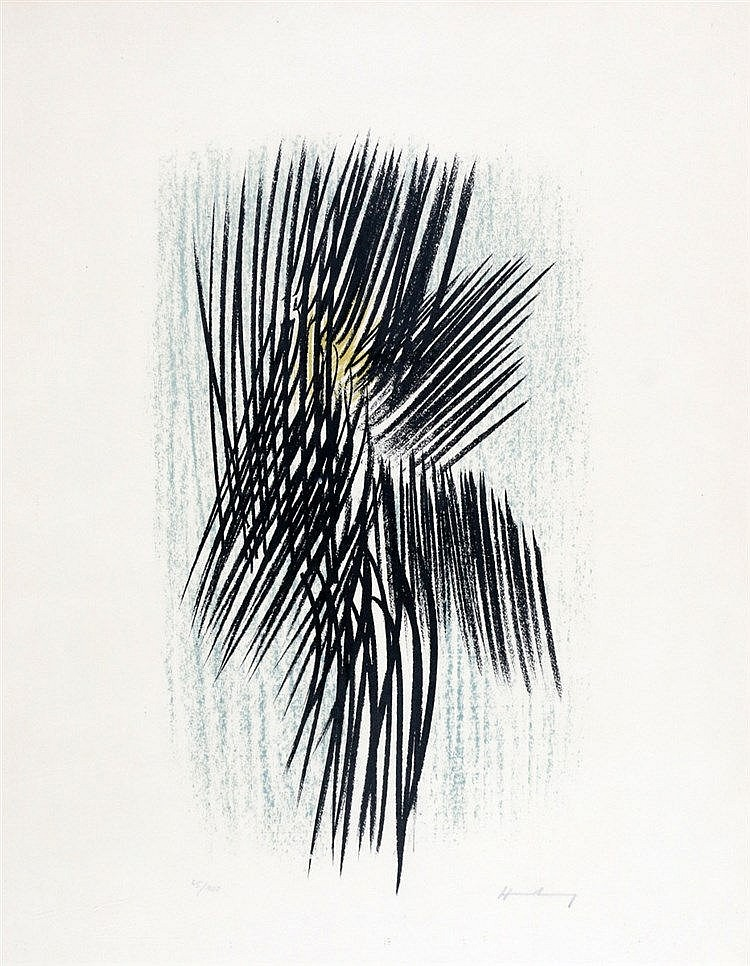 Hans Hartung (1904-1989) Composition with lines. Signed in pencil
