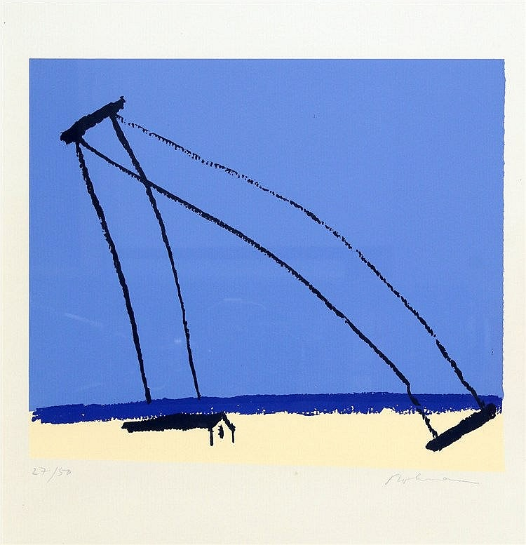 Karl Heinz Bohrmann (1928-1998) Composition in blue. Signed in pe