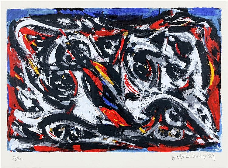 Theo Wolvecamp (1925-1992) Abstract composition. Signed and dated