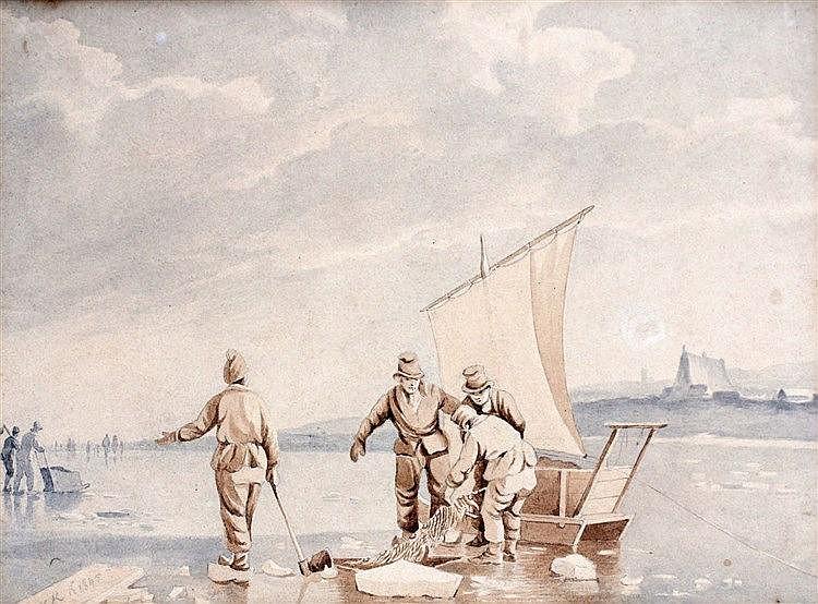 Toegeschreven aan Hermanus Koekkoek (1815-1882) Fishing on a froz
